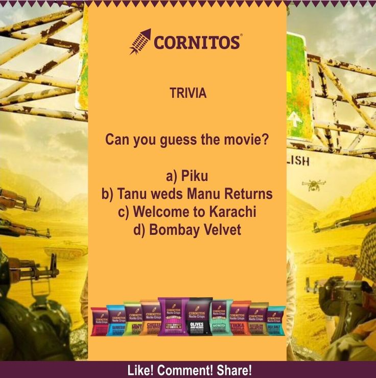 ‪#‎TriviaAlert‬ ‪#‎FunWithCornitos‬ Can you guess the movie?  LIKE.COMMENT.SHARE