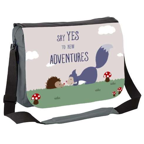 Adventure Messenger Bag by Kathrinlegg   forest friends, friends, fox, hedgehog, love, newborn, baby, nursery, kids, children, cute, landscape, grass, mushroom, field, garden, curious, happy, adventure, admire, happy, smile, celebrate