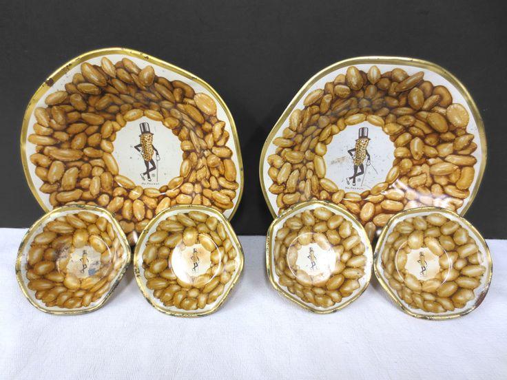 "Vintage Mr. Peanut Metal Bowls Set of 6, Peanuts Serving Plates 3"" and 6"", Tin"