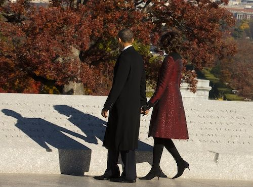 A wreath laying ceremony in honor of President John F. Kennedy at the Kennedy gravesite at Arlington National Cemetery.