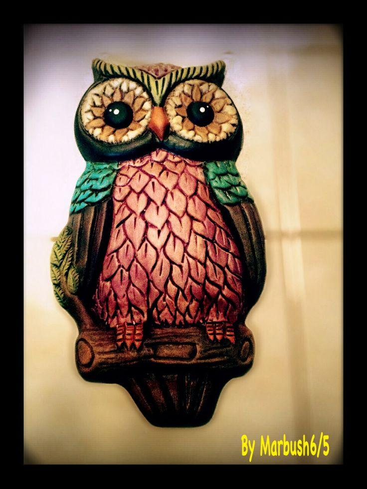 Owl painted on bisque/ Búho pintado en Ceramica | Cerámica ...