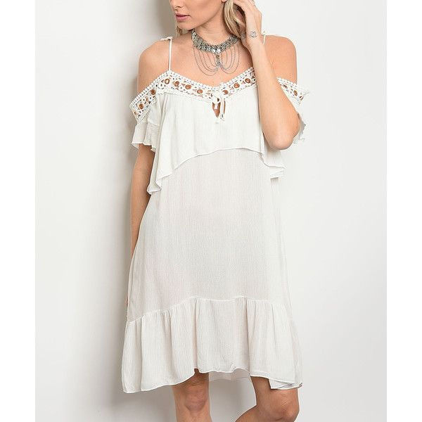 Shop the Trends Off-White Embroidered-Neck Off-Shoulder Dress (55 PEN) ❤ liked on Polyvore featuring dresses, off shoulder boho dress, champagne lace dress, lace dress, white off-shoulder dresses and off the shoulder ruffle dress