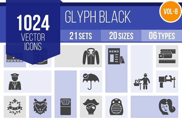 1024 Glyph Icons (V8) @creativework247