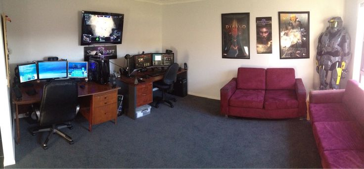 Couple 39 s gaming setup gaming rooms setups rigs for Living room setup