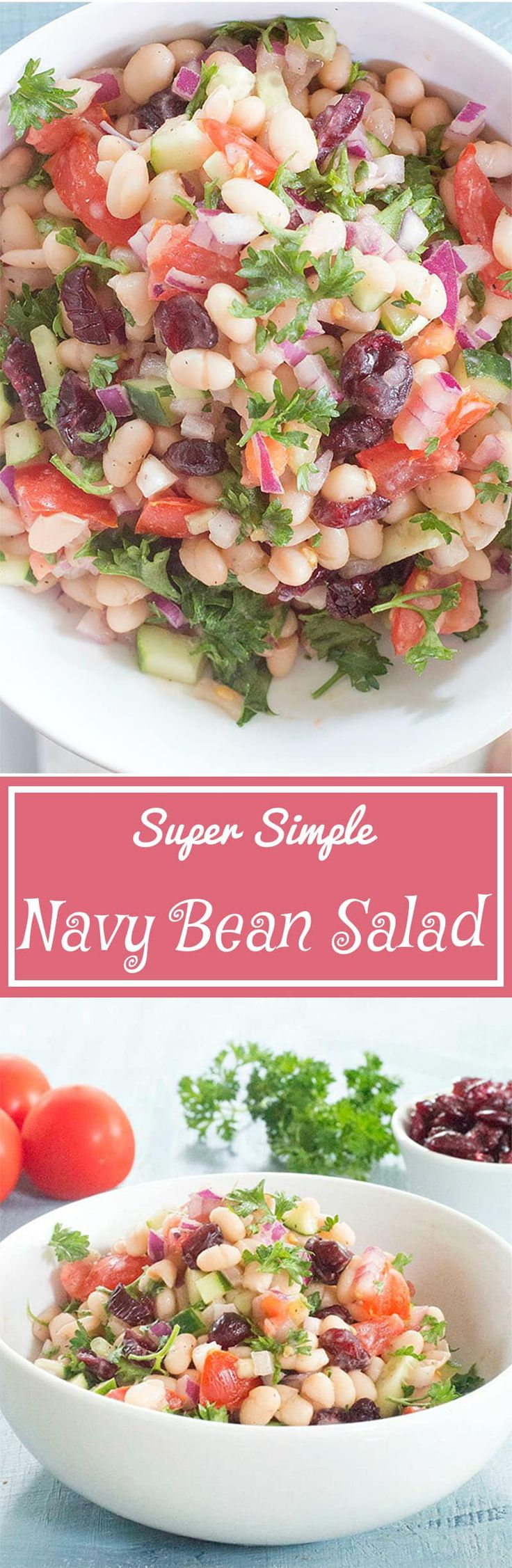 Looking for salad recipes that also counts as vegan recipes? Navy Beans Salad is very healthy, quick salad idea. Made with Parsley & all healthy ingredients | Picnic food Vegan salads Healthy salads bean salad Cranberry recipes holiday recipes vegetarian recipes holiday vegetarian recipes Vegan vegetarian thanksgiving