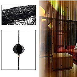 Kangkang@ Crystal Glass Beaded Tassel String Curtains Door Window Home Decor Sheer Curtain For Living Room Divider Rideaux Pour Le Salon (black)