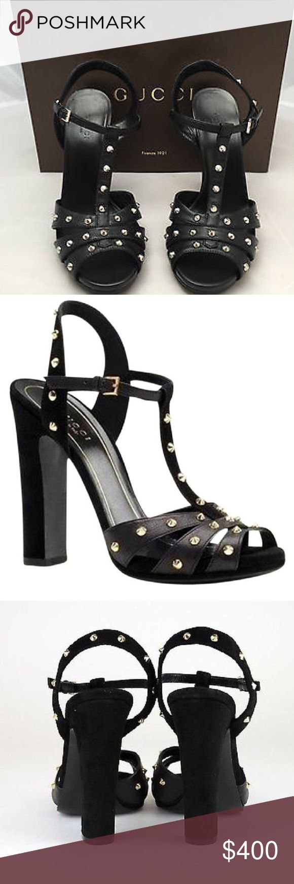 "Gucci Jacquelyn Studded Sandals Authentic Gucci ""Jacquelyn"" sandals in black leather with silver studs. Excellent near new condition,European size 39 1/2 Leather Upper And Leather Outsole, 5"" Heel, Width is B(M). Only signs of wear are on bottom soles from the two times I wore them.  Will ship in Gucci Shoebox. Gucci shopping bags are also available in my closet. Gucci Shoes"