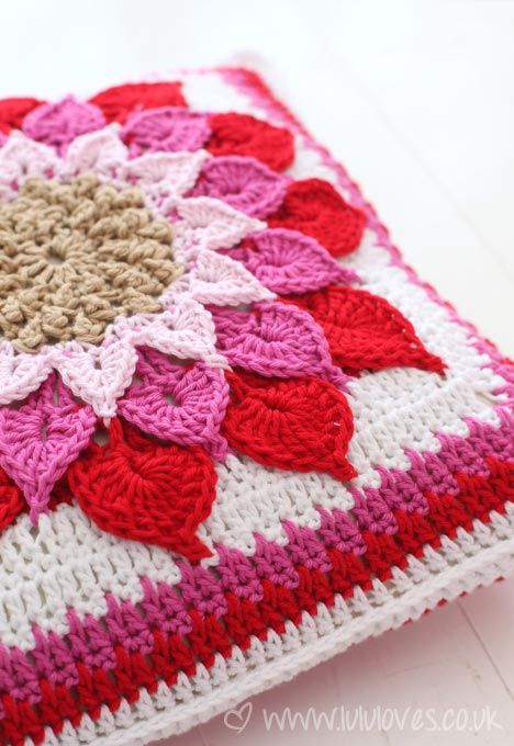 Gorgeous Crocodile Flower Cushion made by Lulu Loves - complimentary pattern on Raverly