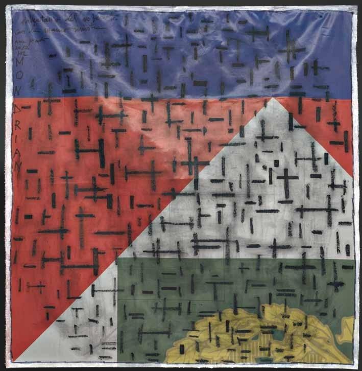 """Lucia Pescador, """"Mondrian - Inventario del '900 con la mano sinistra"""", olio su bandiera, cm 130x124, dal catalogo della mostra """"Novanta artisti per una bandiera"""", ©2013 corsiero editore"""