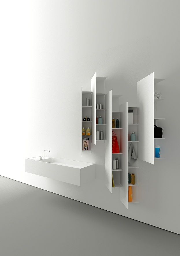 I love how unique these shelves are. They feel kind of hidden if you look at them from one side, but when you look at the other side you can see the beautiful coordination and neatness of the accessories. It's a great storage shelves that doesn't take so much space with a modern look.