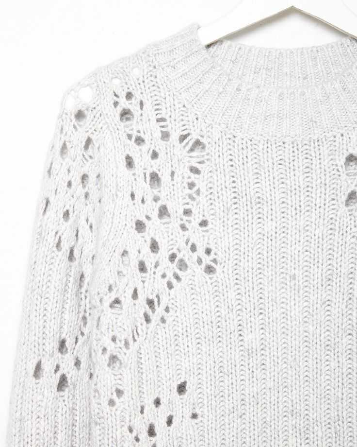 Open knit sweater with drop stitch detail for pattern & texture; distressed textiles design // 3.1 Phillip Lim