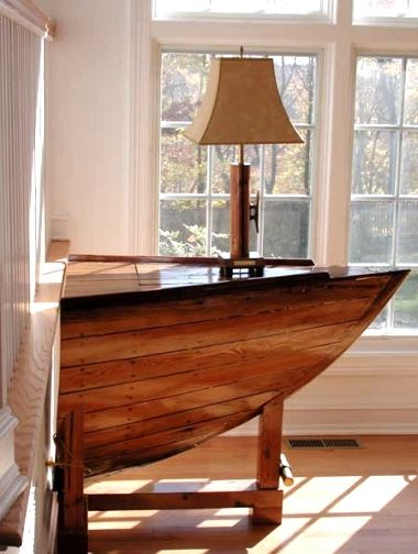 1/2  of a boat  used as a table ... so clever see Top Boat Theme Decor Ideas