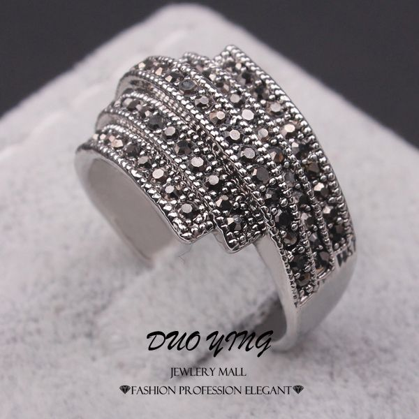 2015 Vintage ladies Rings Anel Senhor Dos Aneis Tibetan Silver Plated Black Rhinestone Anniversary Rings For Women