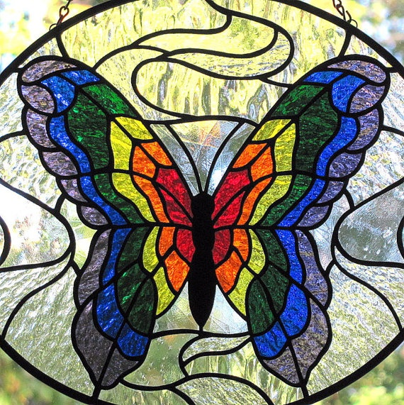 Stained Glass Rainbow Butterfly Oval Suncatcher