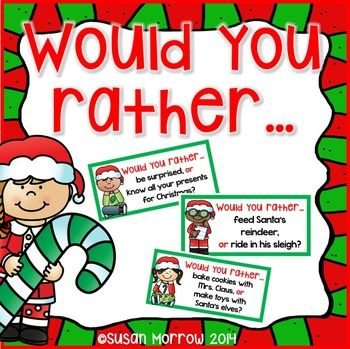 Free: Let your kiddos have fun answering these Would You Rather …?  Christmas scenarios.  This is a great activity to help your students practice Opinion Writing.  Would You Rather…. Includes 33 Would You Rather cards, an I Would Rather Opinion writing planning sheet, and 4 writing response sheets.