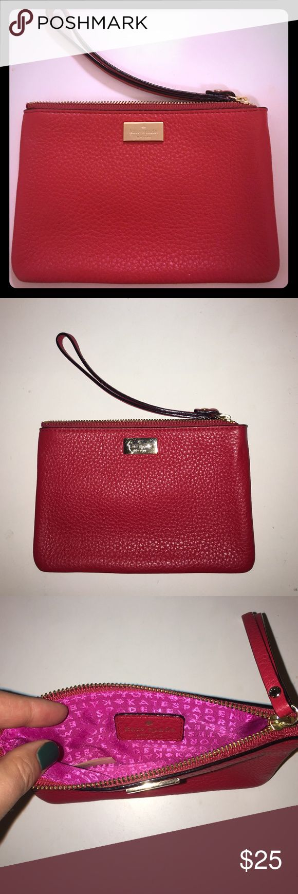 Kate Spade wristlet Small red leather wristlet. Holds any phone except an iPhone plus. Smooth buttery leather. Used once. kate spade Bags Clutches & Wristlets