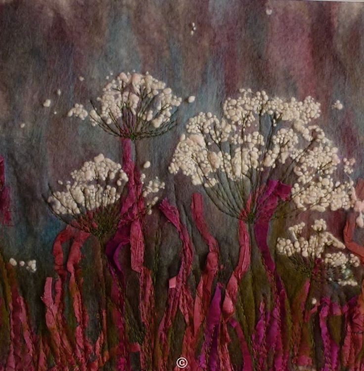 Cow Parsley A74  -  Threlfall's Art Studio   Silk Paintings   Felt Paintings   Acrylics   Caren and Pete   Country, Town and Seascapes   Workshops  