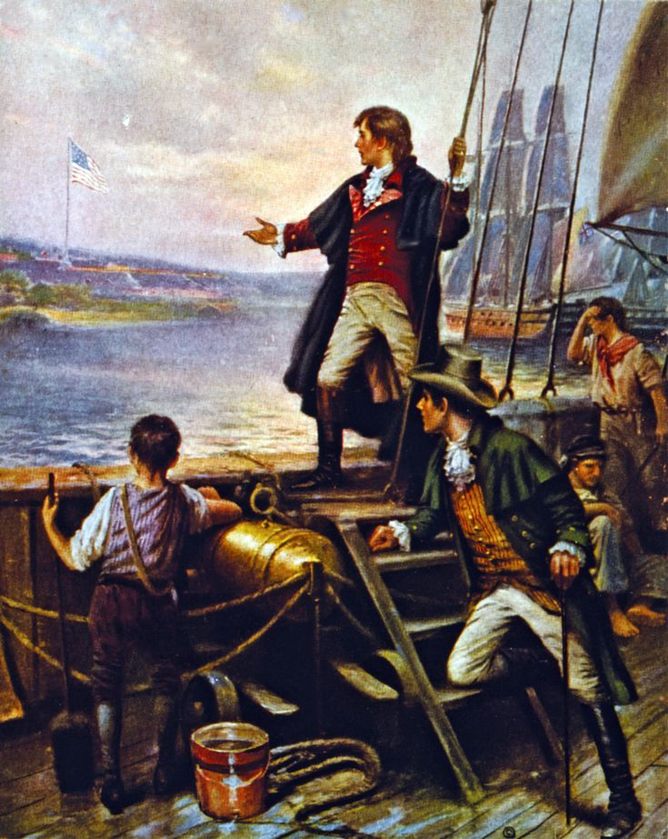 "Francis Scott Key watching the bombardment of Fort McHenry by the Dawn's early light of September 13, 1814. A lawyer, he was part of a delegation negotiating the release of American prisoners and was compelled to remain on board a Royal Navy warship. The night's intense bombardment inspired his poem ""The Star-Spangled Banner,"" which became the words off the Unites States' national anthem.  (Print after Thomas Moran; Library of Congress. Caption: Osprey publishing.)"