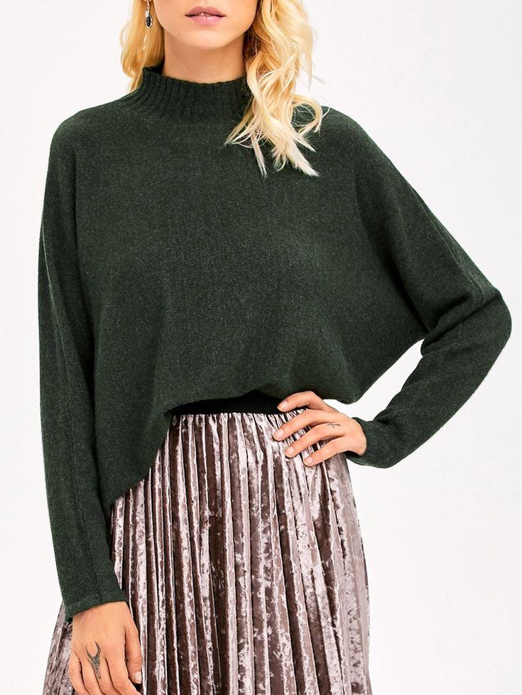 $31.99 for Mock Neck Dolman Sleeve Boyfriend Sweater ARMY GREEN: Sweaters | ZAFUL