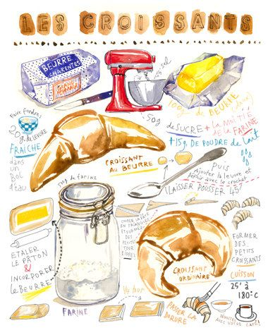 Title : French croissant illustrated recipe Archival giclee reproduction print. Signed with pencil. Printed on fine art BFK Rives