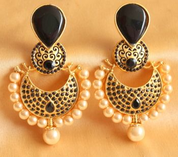 Beautiful royal black matte finish huge earrings