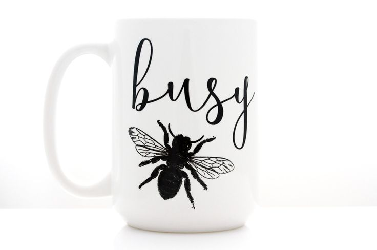 Busy Bee. Coffee Mug with Vintage Bee and Calligraphy