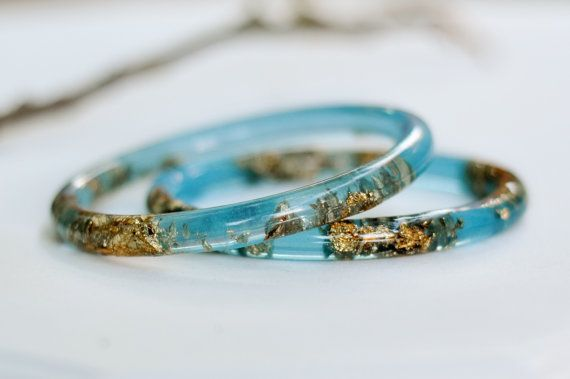 Thin Stacking Bracelets, Aqua Blue Resin Bangle Bracelet With Gold Flakes, Handmade Resin Jewelry by Resity on Etsy