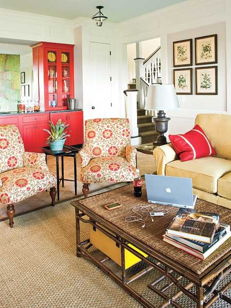 Red Built Ins, Pattern On Chairs With Neutral Couch And Neutral Rug