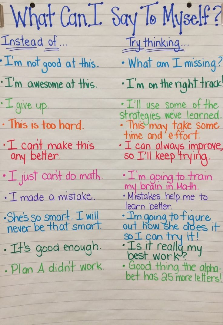 handy chart for training kids in a growth mindset so they are better students - such an awesome tool for kids, teachers, and parents!