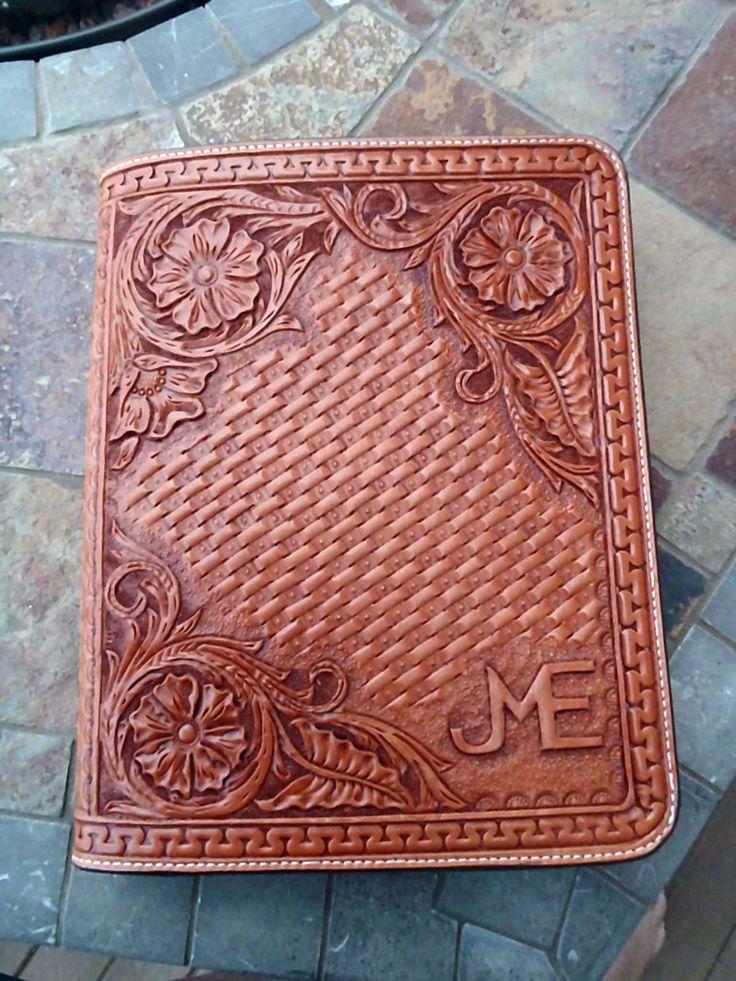 Hand tooled leather Ipad case by FeatherRiverLeather on Etsy, $165.00