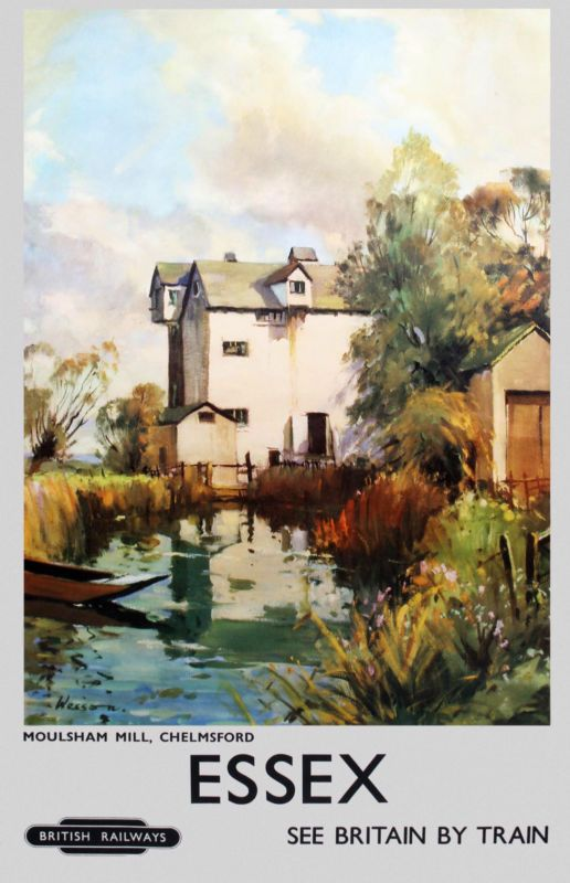 Essex Moulsham Mill, vintage railway poster - repro