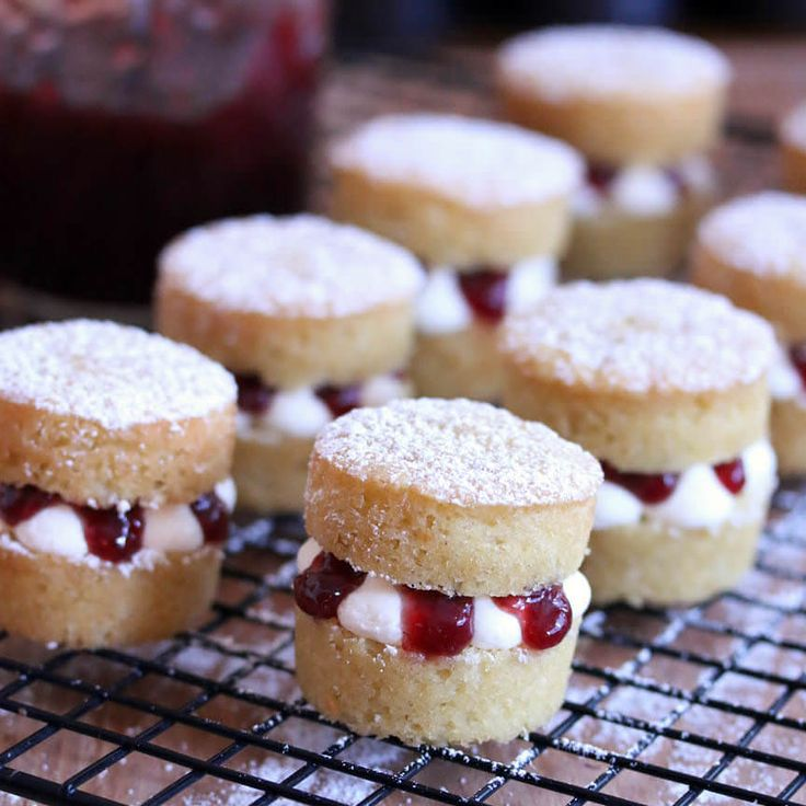 Traditional British Victoria sponge cake in miniature form. Deliciously soft, rich, and perfect for popping in your mouth over and over again!