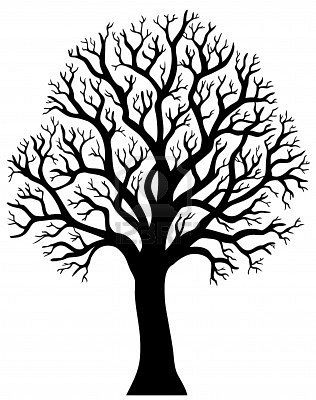 Silhouette of tree without leaf  - illustration. Stock Photo