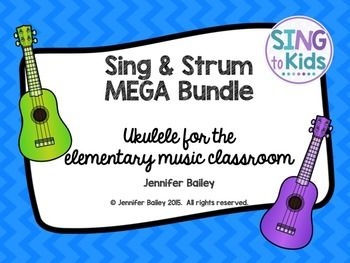 Sing & Strum was based on my experiences teaching ukulele to my elementary students.  This Bundle includes ukulele basics, chords, strumming patterns, and over 50 folk songs.  Interactive White Board charts and student song sheets are included.  This is a must-have item for any music educator teaching ukulele!Examples of song repertoire (not a complete list)A Ram Sam SamAll the Pretty Little HorsesBow Wow WowButton You Must WanderCharlie Over the WaterDoggie, DoggieEensy Weensy SpiderFar...