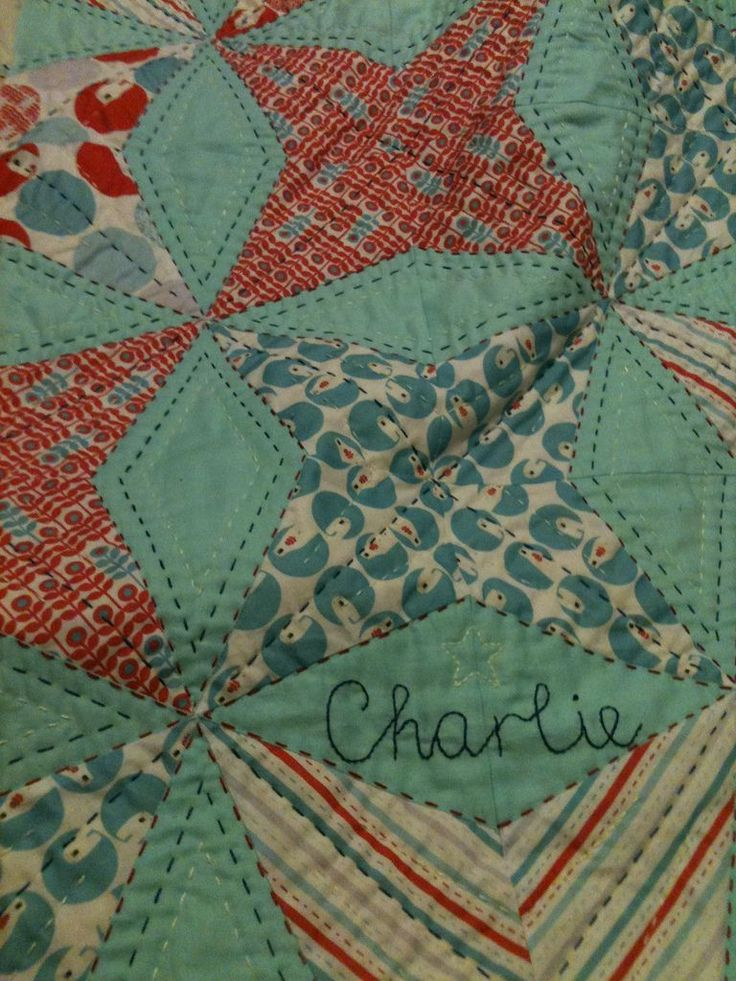Detail of Kaleidoscope quilt and hand quilting - pattern from Cluck Cluck Sew