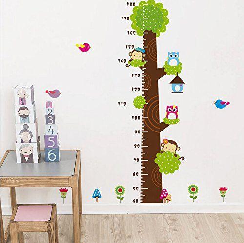 Elegant Wandtattoo XXL Baum Wald Tier Messlatte Eule Affe Wandaufkleber Wandsticker Kinderzimmer