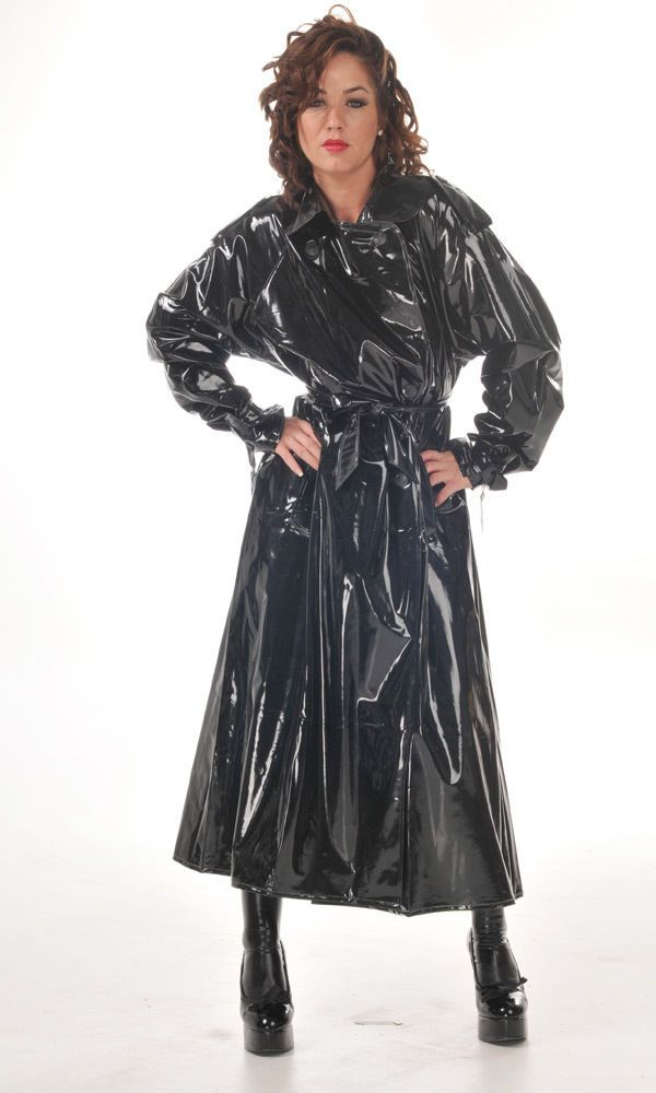 Black Pvc Raincoat Coat In 2019 Pvc Raincoat Vinyl