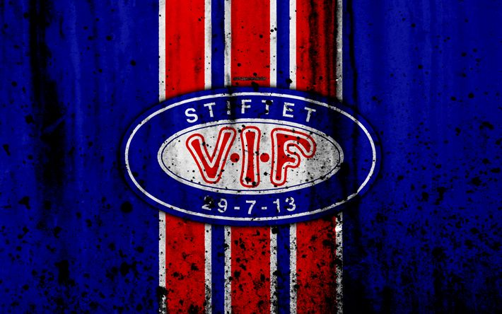 Download wallpapers 4k, FC Valerenga, grunge, Eliteserien, art, soccer, football club, Norway, Valerenga, logo, stone texture, Valerenga FC