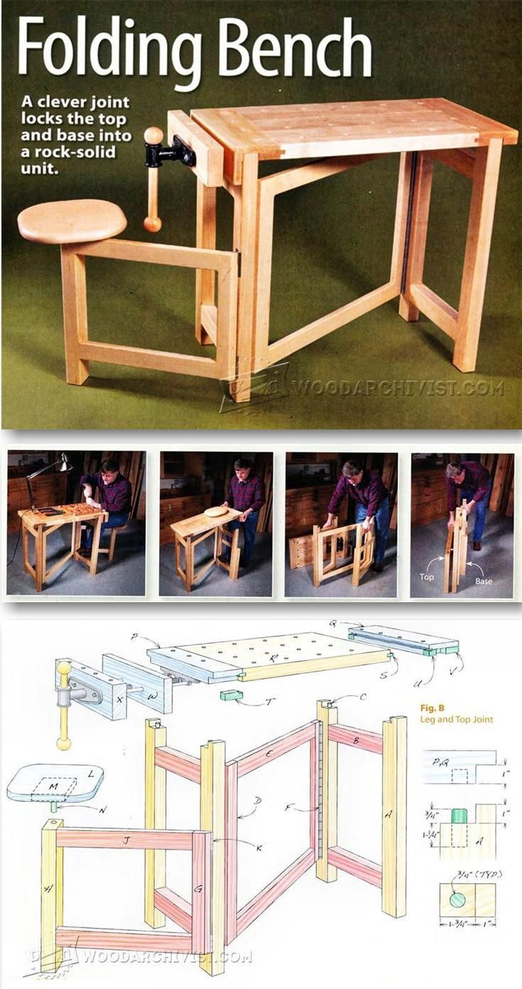 Folding Wood Carving Bench Plans  - Wood Carving Patterns and Techniques | WoodArchivist.com