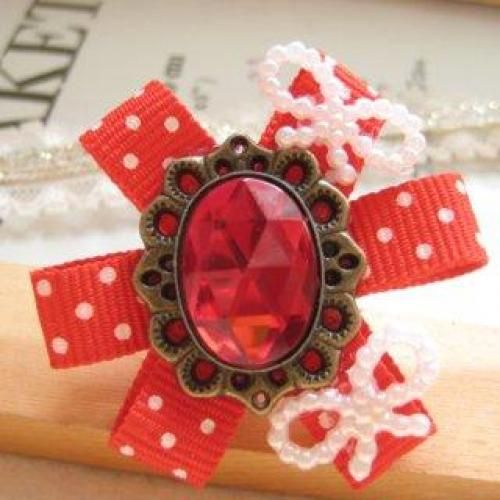 Hand made Elegant pink diamond with red spot cotton ring
