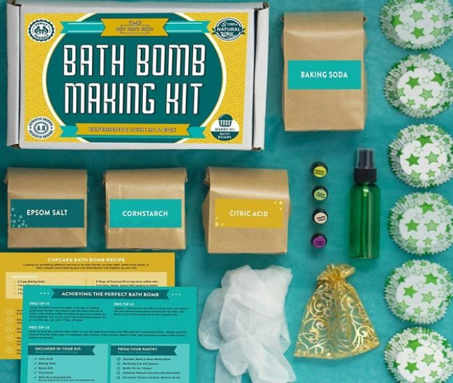Bath Bomb Making Kit - Turn your normal bath time into a spa quality experience with this bath bomb making kit. The kit includes everything you need to make up to 12 therapeutic-grade bath bombs with 100% pure essential oils and no artificial scents or fillers.