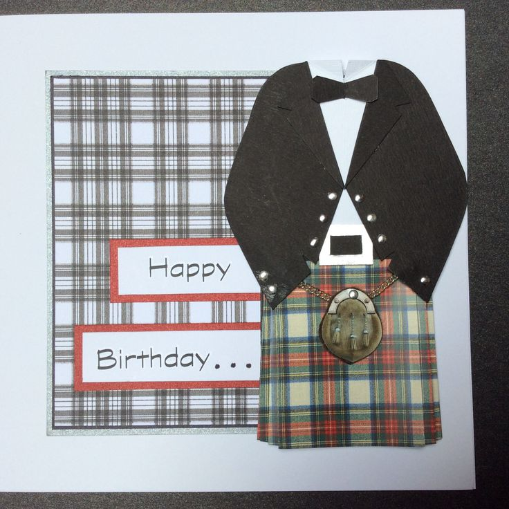 kilt outfit happy birthday card | Cards, Wedding cards ...