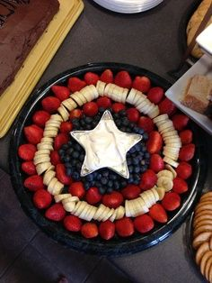Captain American themed party snack.  I need to find a star shaped bowl for the fruit dip.