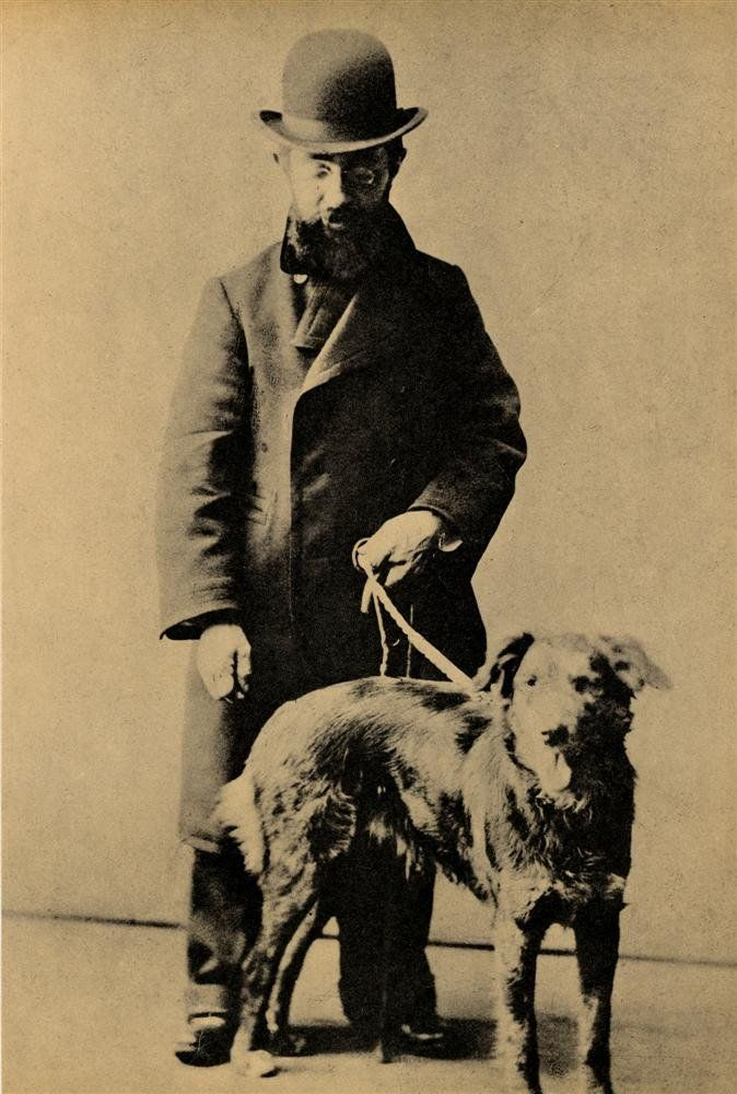 Henri de Toulouse-Lautrec with his dog. c. 1890s.