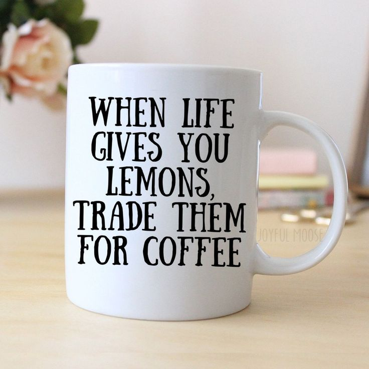 "Funny Coffee Mug says ""When life gives you lemons, trade them for coffee"". Makes great gift for the coffee drinker. ❤ ABOUT JOYFUL MOOSE MUGS ❤ - 11 oz Ceramic Coffee Mugs - dishwasher and microwave s"