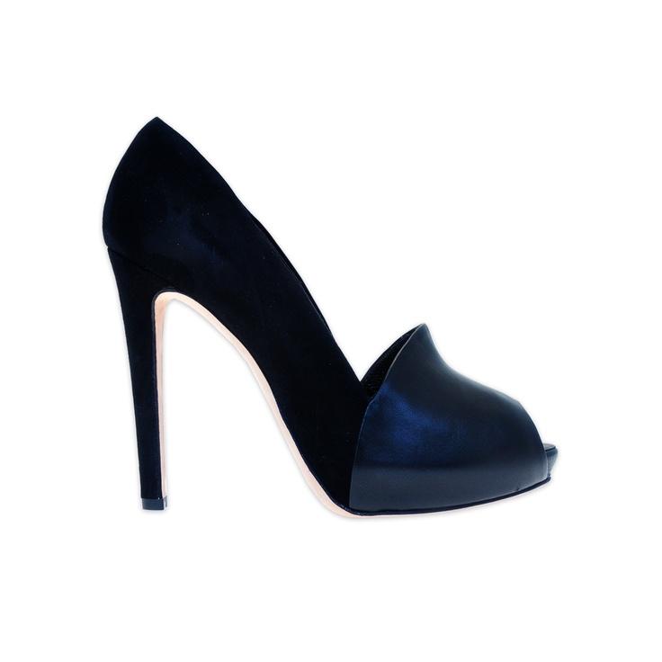 Dark metallic hammered leather peep-toe platforms