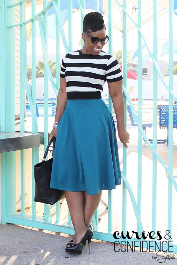High Waist Midi Skirt + Cropped Sweater