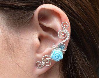 Oreille de poignets aucun perçage mignonnes boucles d'oreilles Boucles d'oreilles fleur poignets d'oreille courbe oreille wrap Bohème d'oreille oreille veste boucles d'oreilles fleur fille cadeau pour elle