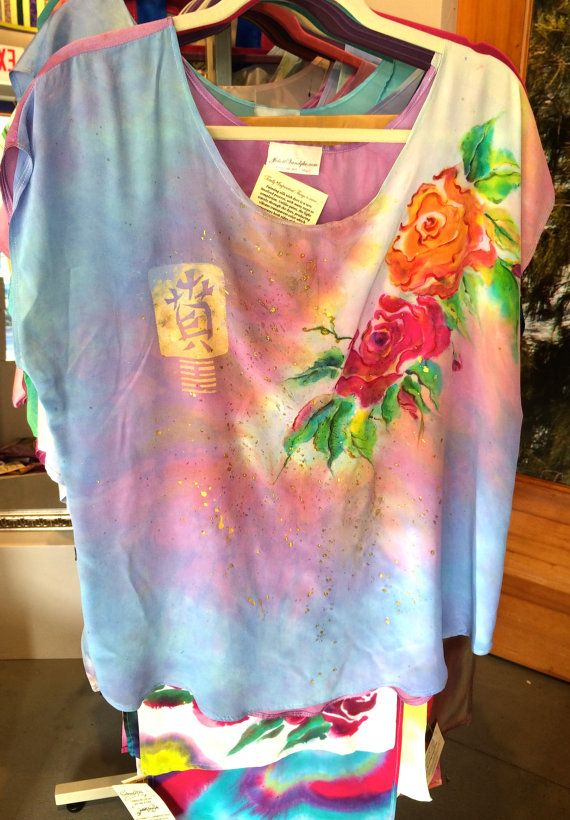 Silk Crepe de Chine Handpainted & Dyed top by JuliettVandyke, $75.00
