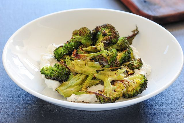 roast broccoli over bed of feta + yogurt
